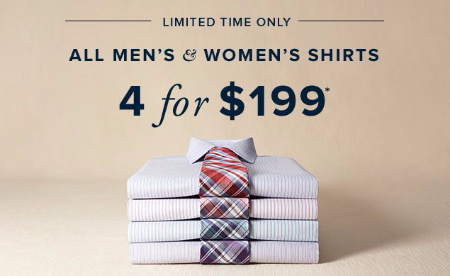 All Men's & Women's Shirts 4 for $199