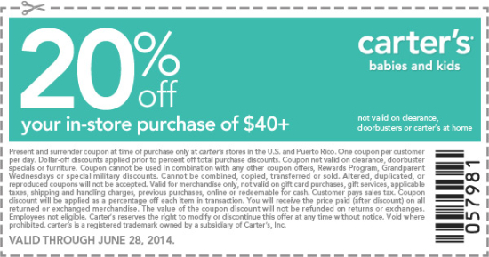 Carters coupons 2018 in store