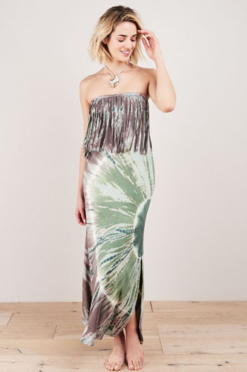 fa94a051d19 It features a tie dye design with mauve and sage green colors. Accented  with flowing fringe at the top