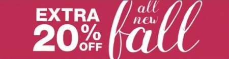 Extra 20% Off All New for Fall