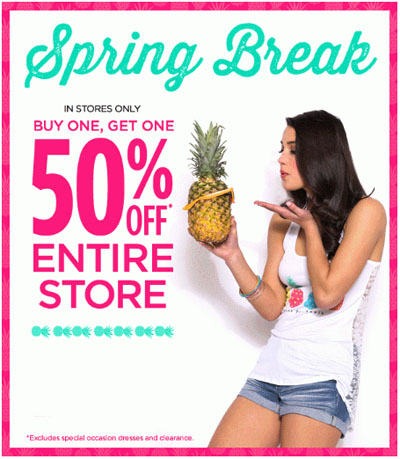 BOGO 50% Off Entire Store at deb Junior & Plus