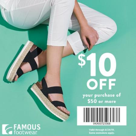 b1cf911a83a Famous Footwear $10 off $50 Summer Offer