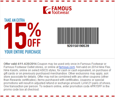 Extra 15% Off Your Entire Purchase at Famous Footwear