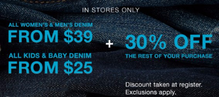 Denim Offer + 30% Off Rest of Purchase