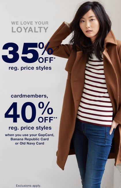 35% Off Regular Price Styles
