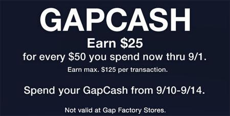 Earn $25 GapCash at Gap