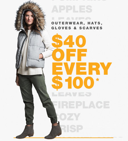 $40 Off $100 Spent on Outerwear & Cold Weather Accessories