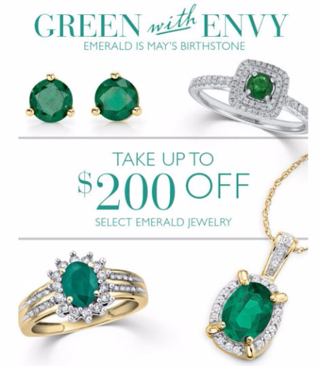 Up to $200 Off Select Emerald Jewelry