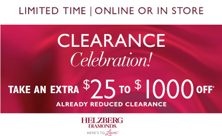Clearance Celebration $25 to $1,000 Off