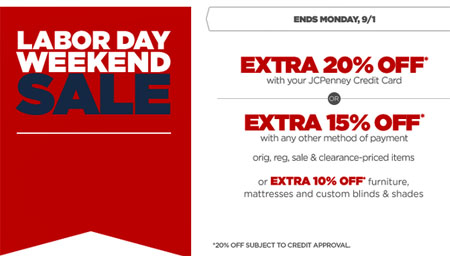 Extra 15% Off Labor Day Sale at JCPenney