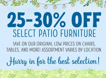 Tuesday Morning 25 30 Off Select Patio Furniture
