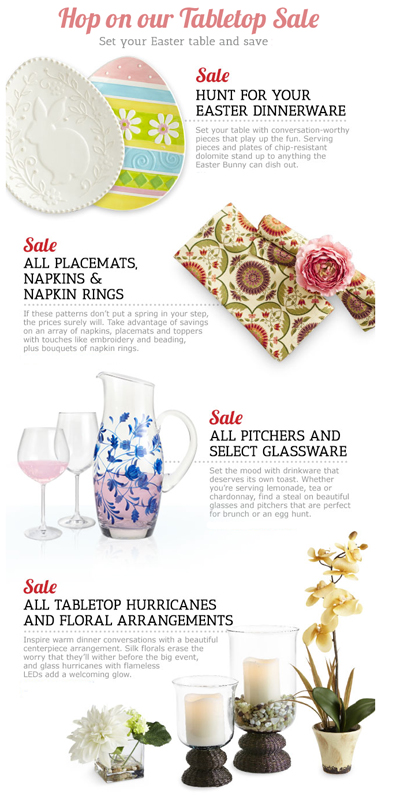 Hop on our Tabletop Sale at Pier 1 Imports