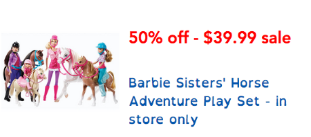 Save 50% Off Barbie Sisters' Horse Adventure Play Set