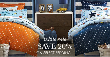 Save 20% on Select Bedding at pottery barn kids