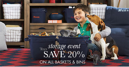 Save 20% on All Baskets & Bins at pottery barn kids