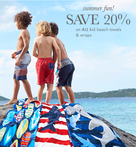 20% Off Kid Beach Towels & Wraps at pottery barn kids