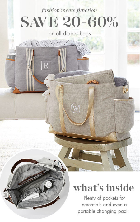 20-60% Off Diaper Bags at pottery barn kids