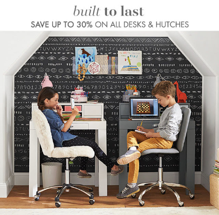 Up to 30% Off Desks & Hutches at pottery barn kids