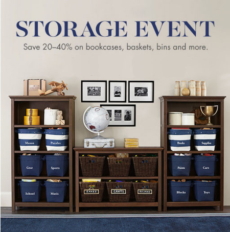 20-40% Off Storage Event at pottery barn kids