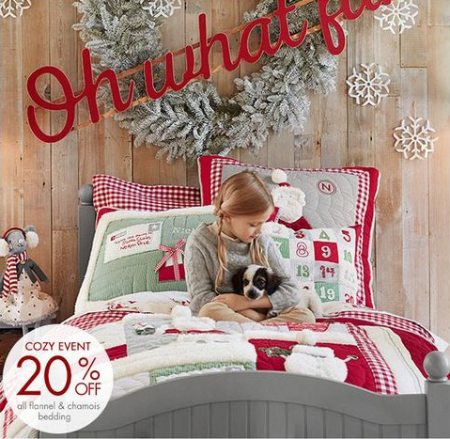 20% Off All Flannel & Chamois Bedding at pottery barn kids