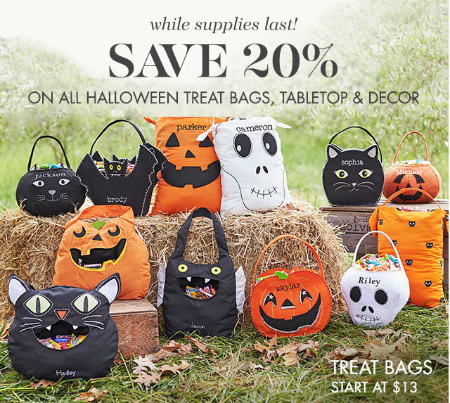 20% Off Halloween Treat Bags, Tabletop & Decor at pottery barn kids