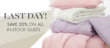 Save 20% on All In-Stock Quilts