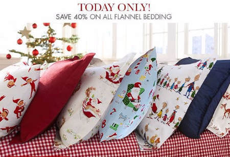 40% Off All Flannel Bedding at pottery barn kids