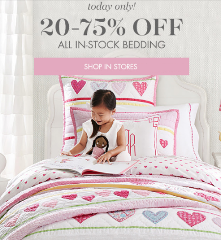 20-75% Off All In-Stock Bedding at pottery barn kids