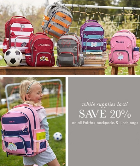 Save 20% on All Fairfax Backpacks & Lunch Bags at pottery barn kids