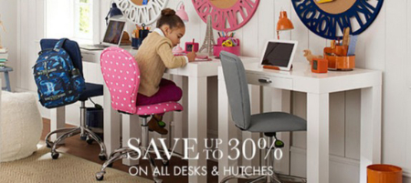 Save up to 30% on All Desks & Hutches at pottery barn kids