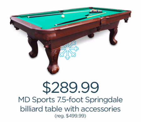 $289.99 MD Sports 7.5-Foot Springdale Billiard Table With Accessories