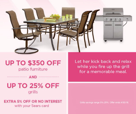Up to $350 Off Patio Furniture & up to 25% Off Grills