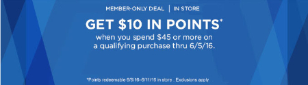 $10 Points $45 or More Purchase