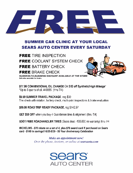 FREE Summer Car Clinic at Sears Auto Center at Sears