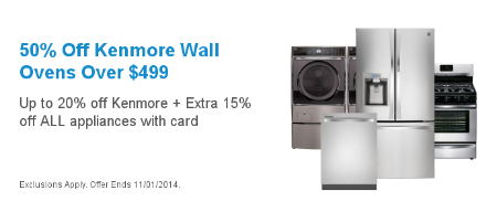 50% Off Kenmore Wall Ovens Over $499
