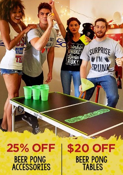 25% Off Beer Pong Accessories & $20 Off Beer Pong Tables