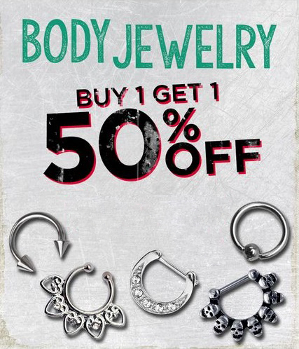 BOGO 50% Off Body Jewelry at Spencer Gifts