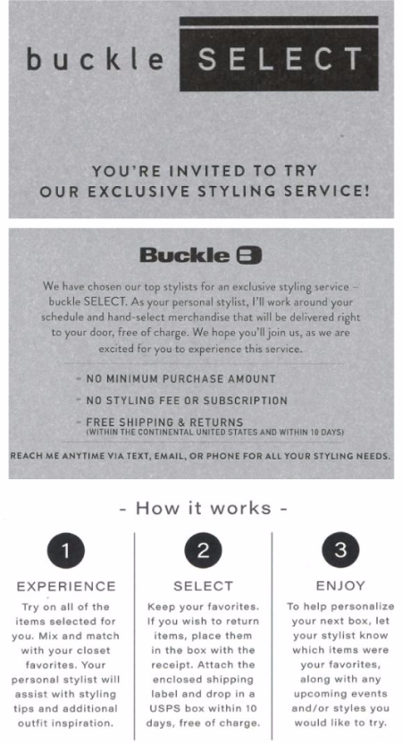 Buckle SELECT Styling Service