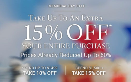 Up to an Extra 15% Off Your Entire Purchase