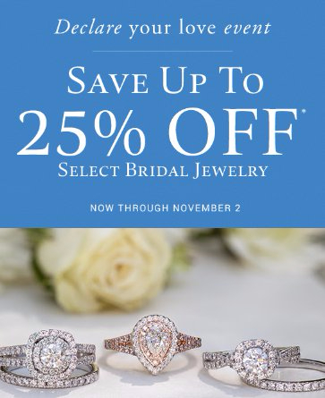 Save up to 25% Off Select Bridal Jewelry