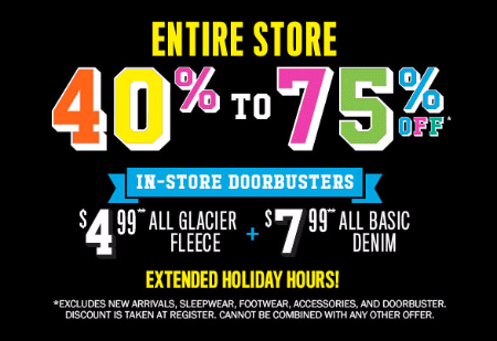 40% - 75% Off Entire Store