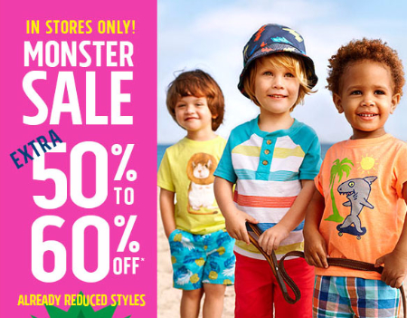 Extra 50% - 60% Off Monster Sale at The Children's Place