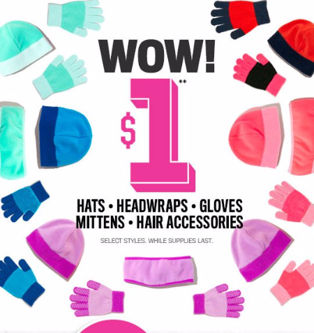 $1 Hats, Headwraps, Gloves, Mittens & Hair Accessories