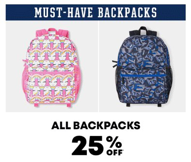 All Backpacks 25 Off The Childrens Place