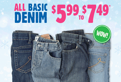 All Basic Denim From $5.99 to $7.49 at The Children's Place