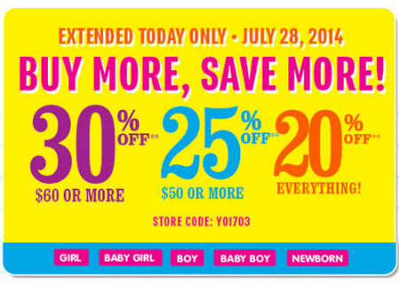 Buy More, Save More at The Children's Place