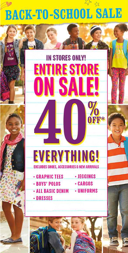 Back-To-School Sale 40% Off at The Children's Place