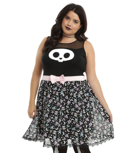 Skelanimals Kit Bow Front Dress Plus Size