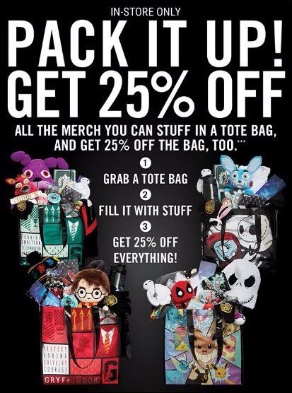 Pack It Up 25% Off In-Store