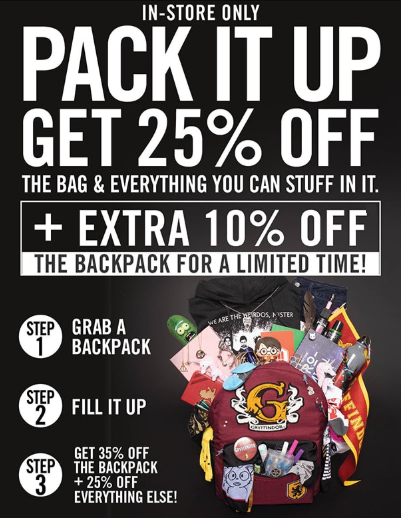 6d705695fbbab Steeplegate Mall     25% Off the Bag   Everything You Can Stuff in ...